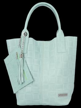 Módní Kožené Dámské Kabelky Shopper Bag XL Vittoria Gotti Mátová