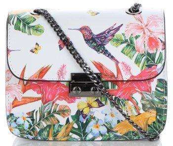 Vittoria Gotti Made in Italy Módní Kožená Kabelka Listonoška ptactvo Multicolor Bílá