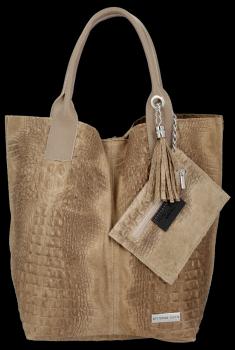 Kožené Kabelky VITTORIA GOTI Made in Italy Shopperbag Aligator Tmavě béžová