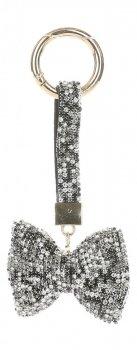 Přívěšek ke kabelce Elegantní luk s křišťálky stříbrná s černým