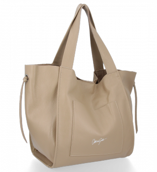 Vittoria Gotti Italské Kožené Dámské Kabelky Shopper Bag Tmavě Béžová