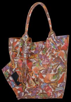 Kožené Kabelky VITTORIA GOTI Made in Italy Shopperbag Butterfly Multicolor - Zrzavá