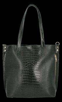 Vittoria Gotti Klasické Kožené Kabelky XL s motivem aligátora Lahvově Zelená