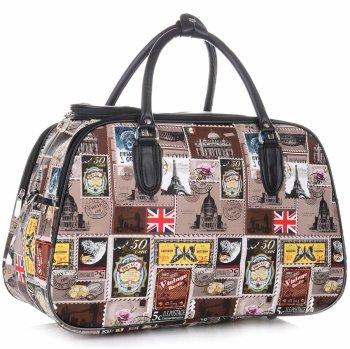Velká cestovní taška kufřík Or&Mi Poštovní známky Multicolor - hnědá