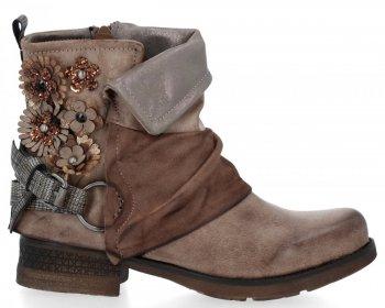Khaki stylové kotníkové boty Flora