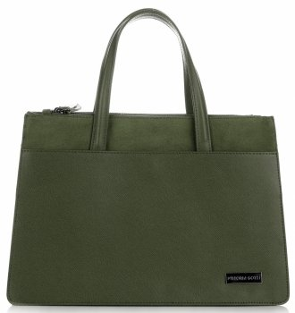 VITTORIA GOTTI Made in Italy Elegantní Dámská kabelka kožená kufřík tmavě zelená