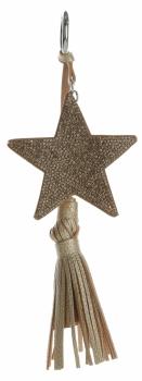 Dvoustranný Přívěšek ke kabelce Stars se zirkony a silným střapcem zlatá