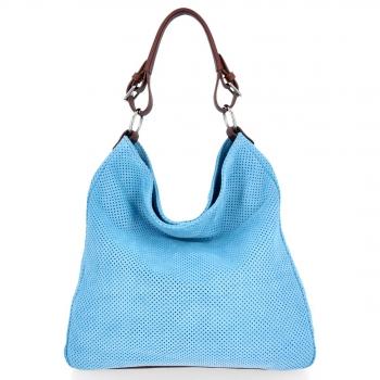 Univerzální kožená italská kabelka ažurová světle modrá