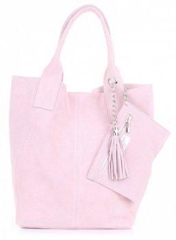 Kožené kabelky Shopperbag přírodní semiš růžová
