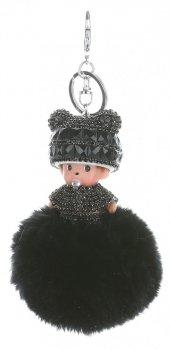 Přívěšek ke kabelce Mimino s pomponem z přírodního králíka černý