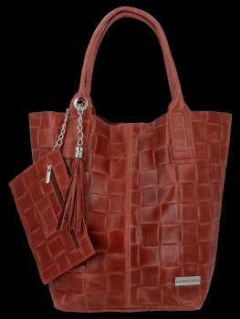 Módní Kožené Dámské Kabelky Shopper Bag XL Vittoria Gotti Hnědá
