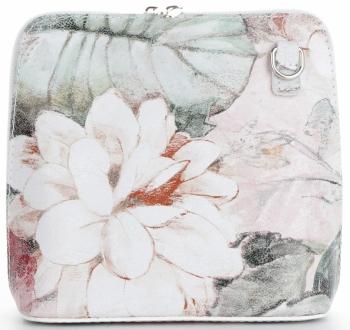 Malá Kožená Kabelka Listonoška Vittoria Gotti Made in Italy květiny Bílá