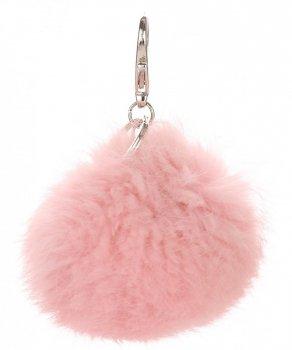 Přívěšek ke kabelce Pompon z přírodního vlasu růžový