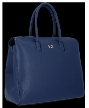 Elegantní Kožená Kabelka Kufřík Vittoria Gotti Tmavě modrá