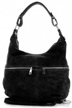 Univerzální kožená italská kabelka na každý den černá