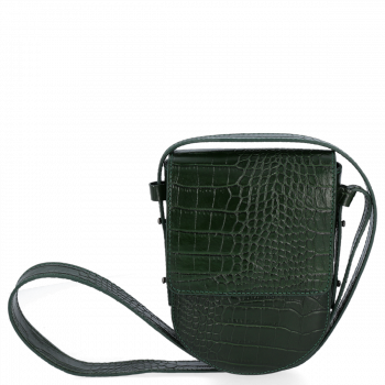 Kožená Kabelka listonoška Vittoria Gotti s motivem aligátora Lahvově Zelená