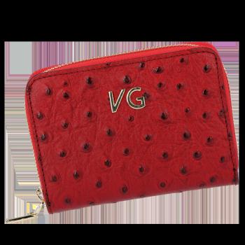 Dámská Kožená Peněženka pštrosí vzor Vittoria Gotti Made in Italy Červená