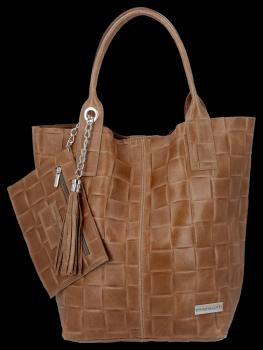 Módní Kožené Dámské Kabelky Shopper Bag XL Vittoria Gotti Zemitá