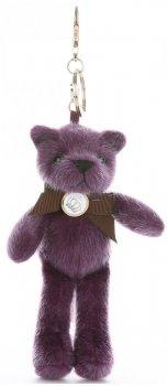 Přívěšek ke kabelce Elegantní medvídek s mašličkou purpurový
