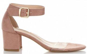 Modní Dámské Sandály na podpatku Bellucci Práškové růžové