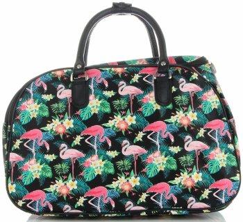 Velká cestovní taška kufřík Or&Mi Plameňáci Multicolor - černá