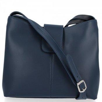 Kožené kabelky 2 přihrádky Tmavě modrá