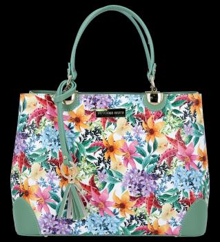Vittoria Gotti Dámská Kabelka Kožená Kufřík květinový vzor Malovaná Multicolor Zelená