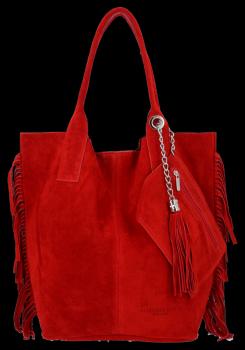 Módní Italské Kožené Kabelky Shopper Bag Boho Style Vittoria Gotti Červená