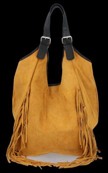 Módní Italské Kožené Dámské Kabelky Shopper Bag Boho Style Světle Zrzavá