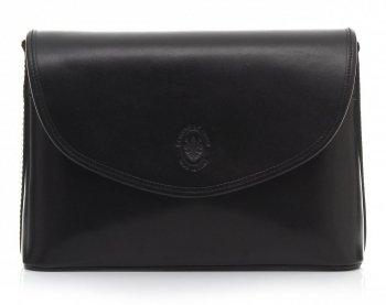 Eegantní kožená kabelka listonoška černá