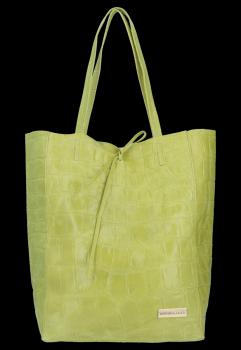 Vittoria Gotti Kožená Italská Kabelka Shopperbag motiv želvy XL Limetková