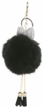 Přívěšek ke kabelce Pompon z přírodního králíka s lukem s kubickým zirkonem černý