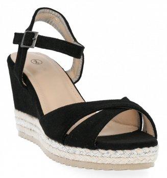 Černé dámské klínové sandály Lady Glory