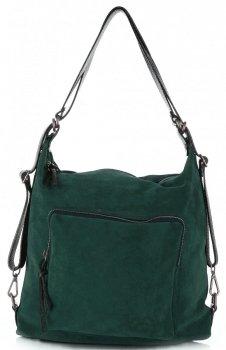 Kabelka batůžek přírodní kůže Vittoria Gotti Tmavě Zelená