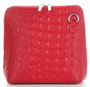 Kožená Kabelka Listonoška Genuine Leather motiv aligátorů Červená