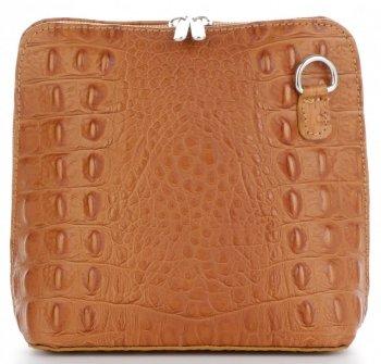 Włoska Torebka Skórzana Listonoszka firmy Genuine Leather we wzór Krokodyla Ruda