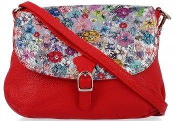 Vittoria Gotti Modna Listonoszka Skórzana we wzór Kwiatów Czerwona