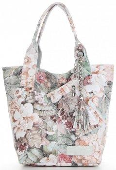 Vittoria Gotti Firmowy Shopper XL w modny wzór Kwiatów Biała