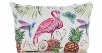 Firmowe i Modne Kosmetyczki w rozmiarze M marki David Jones wzór Flaminga Multikolor Brązowa