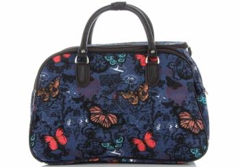 Mała Torba Podróżna Kuferek Or&Mi wzór w motyle Multikolor - Niebieska