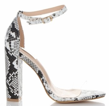 Modne Sandały na Obcasie firmy Bellucci Biało-Czarne