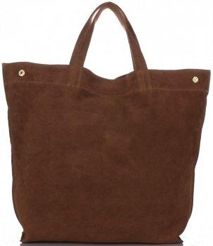 Włoski Skórzany Shopper XL firmy Vera Pelle Brązowy