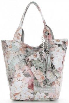 Vittoria Gotti Firmowy Shopper XL w modny wzór Kwiatów Jasno Szara