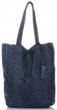 Vittoria Gotti Premium Torebka Skórzana Ażurowy ShopperBag w stylu Vintage Granatowa
