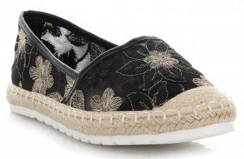 Modne Espadryle Damskie w kwiaty firmy Ideal Shoes Czarne