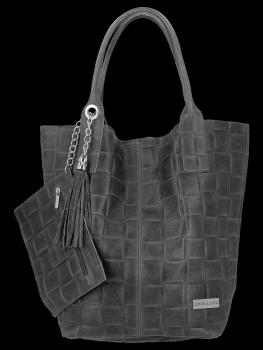 Modne Torebki Skórzane Shopper Bag XL z Etui firmy Vittoria Gotti Ciemno Szara