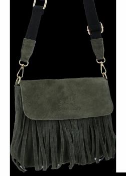 Modna Listonoszka Skórzana z Frędzlami firmy Vittoria Gotti Khaki