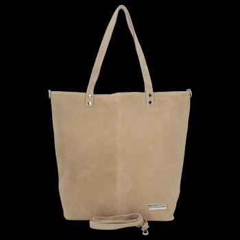 Uniwersalna Torebka Skórzana Shopper Bag firmy Vittoria Gotti Beżowa