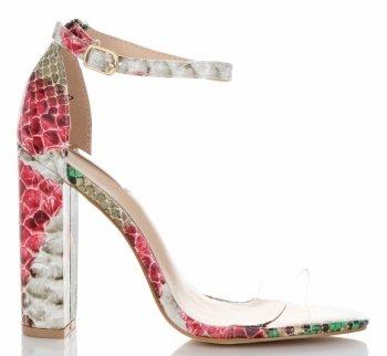 Modne Sandały na Obcasie firmy Bellucci Różowe