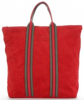 Vittoria Gotti Torebki Skórzane w modne paski Firmowy Shopper Made in Italy z funkcją Plecaczka Czerwona